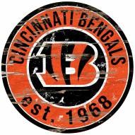 Cincinnati Bengals Distressed Round Sign