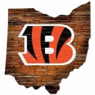 Cincinnati Bengals Distressed State with Logo Sign