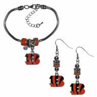Cincinnati Bengals Euro Bead Earrings & Bracelet Set