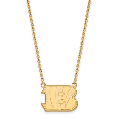 Cincinnati Bengals Sterling Silver Gold Plated Large Pendant with Necklace