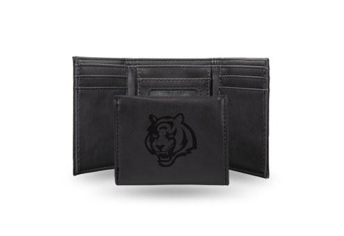 Cincinnati Bengals Laser Engraved Black Trifold Wallet