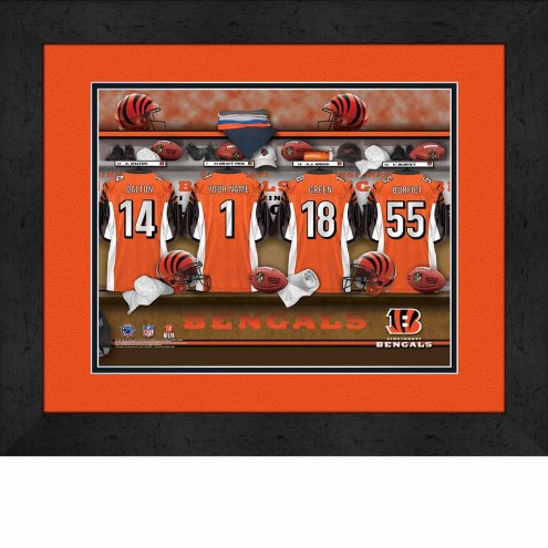 Cincinnati Bengals Personalized Locker Room 13 x 16 Framed Photograph
