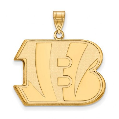 Cincinnati Bengals Sterling Silver Gold Plated Extra Large Pendant