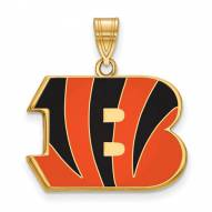 Cincinnati Bengals Sterling Silver Gold Plated Large Enameled Pendant