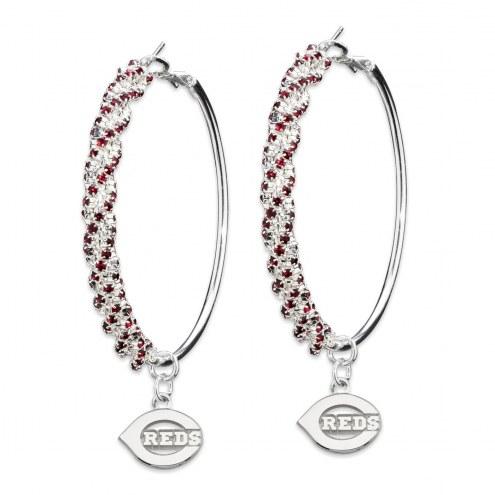 Cincinnati Reds Amped Logo Crystal Earrings