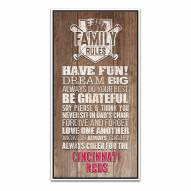 Cincinnati Reds Family Rules Icon Wood Framed Printed Canvas