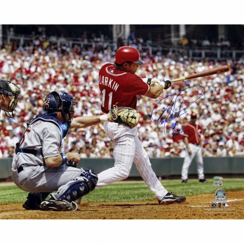 "Cincinnati Reds Barry Larkin Swing w/ ""HOF 2012"" Signed 16"" x 20"" Photo"