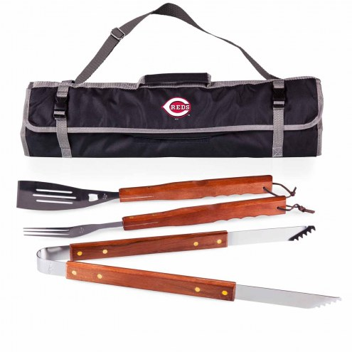 Cincinnati Reds Black 3 Piece BBQ Set