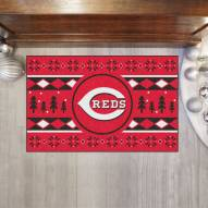 Cincinnati Reds Christmas Sweater Starter Rug
