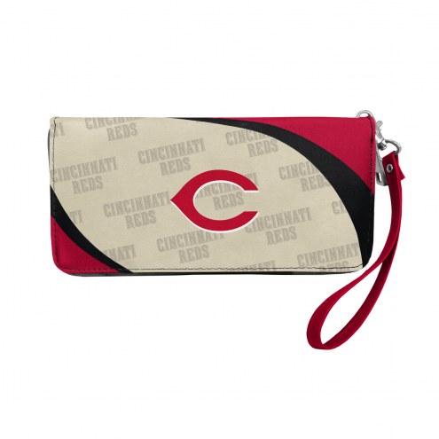 Cincinnati Reds Curve Zip Organizer Wallet
