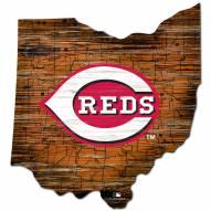 Cincinnati Reds Distressed State with Logo Sign