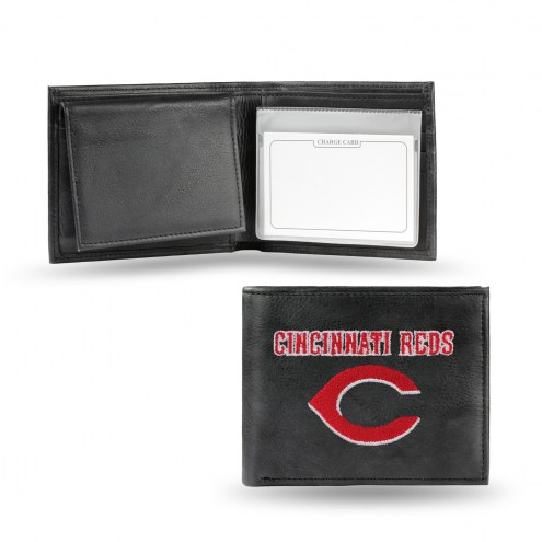 Cincinnati Reds Embroidered Leather Billfold Wallet