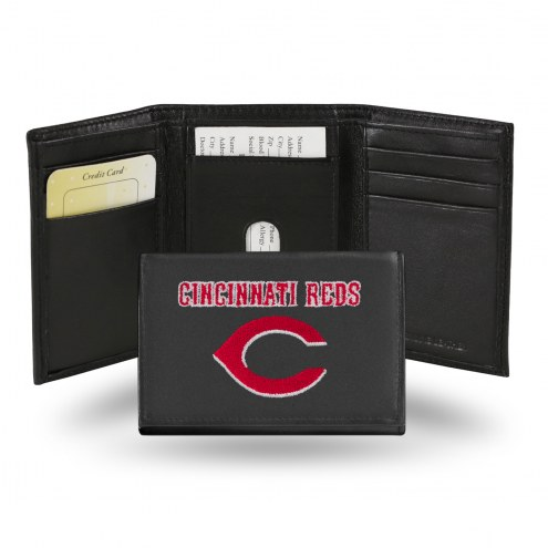 Cincinnati Reds Embroidered Leather Tri-Fold Wallet