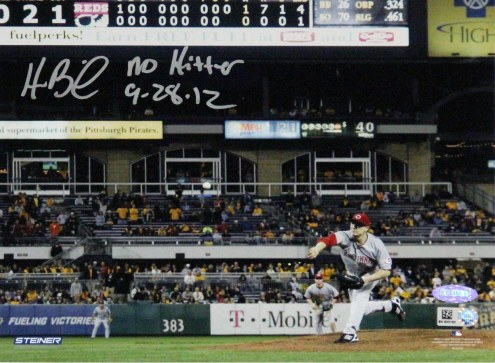 Cincinnati Reds Homer Bailey Pitching No-hitter Against Pirates Signed Horizontal 8 x 10 Photo w/ No Hitter 9-28-12