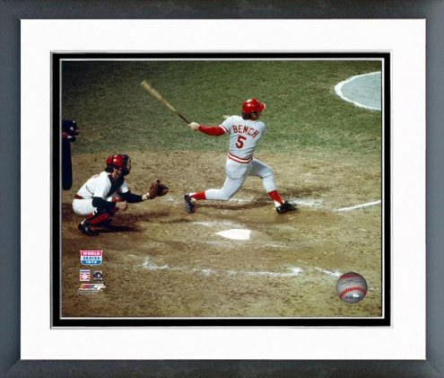 Cincinnati Reds Johnny Bench 1975 World Series Action Framed Photo