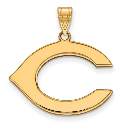 Cincinnati Reds Logo Art Sterling Silver Gold Plated Large Pendant