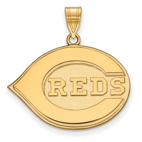 Cincinnati Reds MLB Sterling Silver Gold Plated Large Pendant