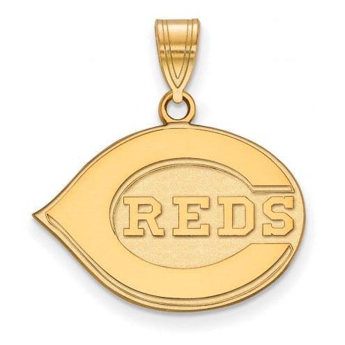 Cincinnati Reds MLB Sterling Silver Gold Plated Medium Pendant