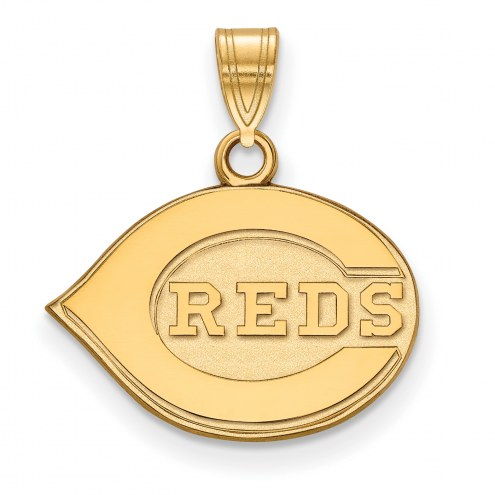 Cincinnati Reds MLB Sterling Silver Gold Plated Small Pendant