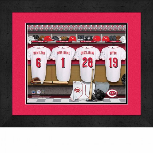 Cincinnati Reds Personalized Locker Room 13 x 16 Framed Photograph