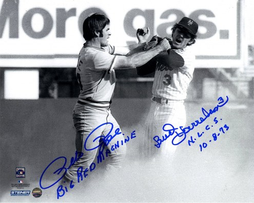 Cincinnati Reds Pete Rose/Bud Harrelson Signed B/W Fighting With Pete Rose 8 x 10 Photo