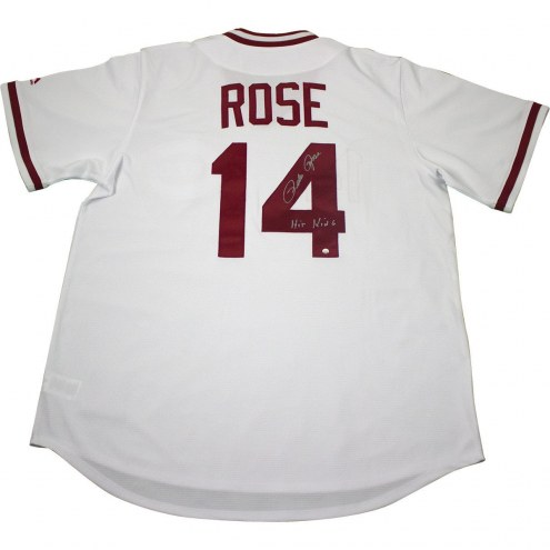 Cincinnati Reds Pete Rose Signed Majestic White 1976 Cooperstown Jersey w/ Hit King