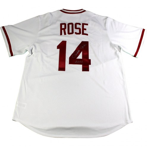 Cincinnati Reds Pete Rose Signed Majestic White 1976 Cooperstown Jersey w/ 4256