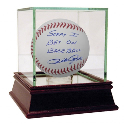 Cincinnati Reds Pete Rose Signed MLB Baseball w/ Sorry I Bet on Baseball