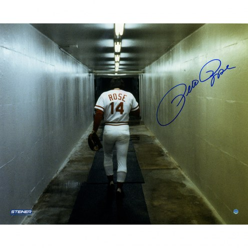 "Cincinnati Reds Pete Rose Walking Down Tunnel Signed 16"" x 20"" Photo"