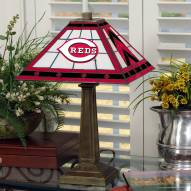 Cincinnati Reds Stained Glass Mission Table Lamp