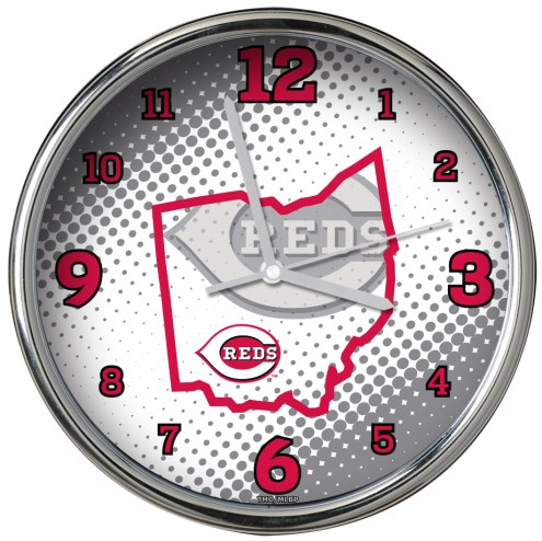 Cincinnati Reds State of Mind Chrome Clock