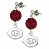Cincinnati Reds Sterling Silver Crystal Ovation Earrings