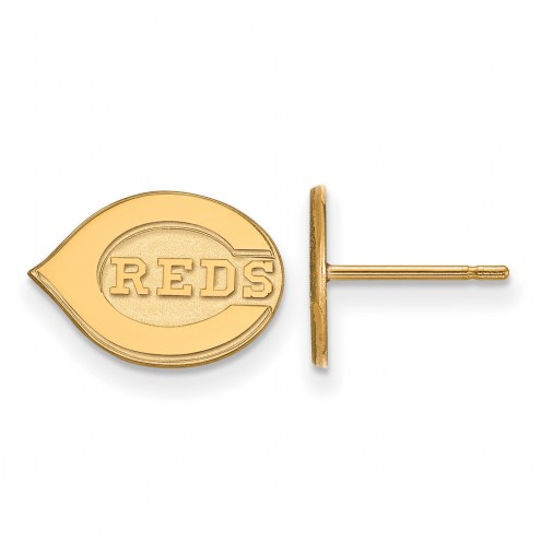 Cincinnati Reds Sterling Silver Gold Plated Extra Small Post Earrings