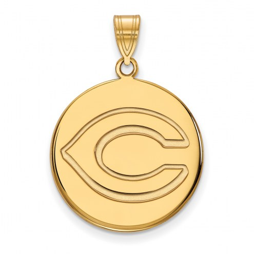 Cincinnati Reds Sterling Silver Gold Plated Large Disc Pendant