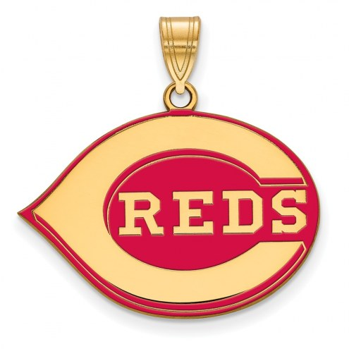 Cincinnati Reds Sterling Silver Gold Plated Large Enameled Pendant
