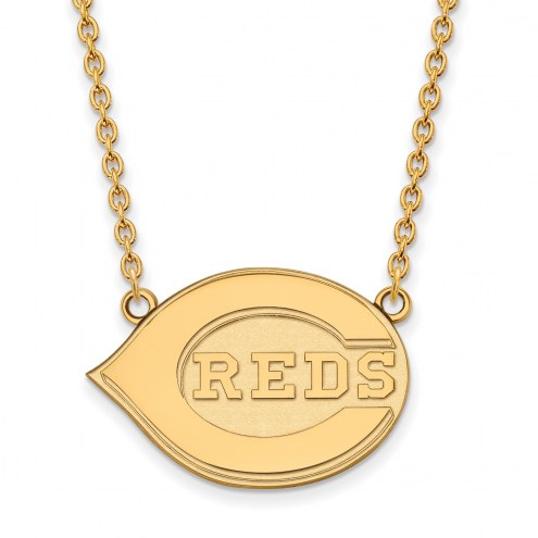 Cincinnati Reds Sterling Silver Gold Plated Large Pendant Necklace