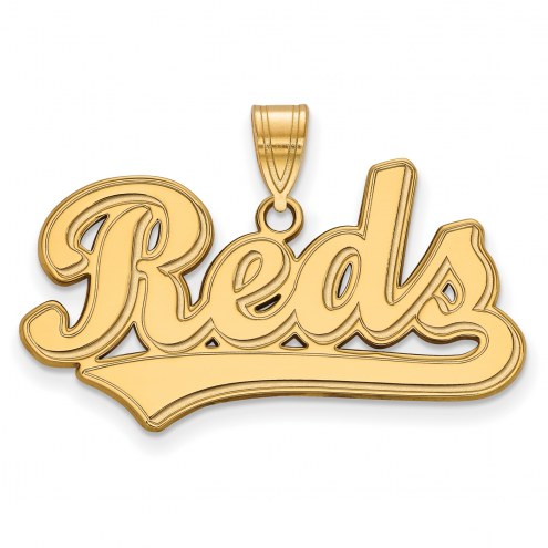Cincinnati Reds Sterling Silver Gold Plated Large Pendant