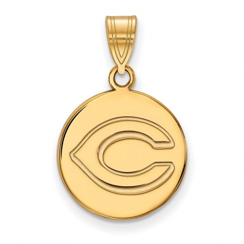 Cincinnati Reds Sterling Silver Gold Plated Medium Disc Pendant