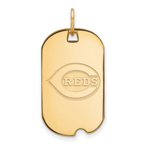 Cincinnati Reds Sterling Silver Gold Plated Small Dog Tag