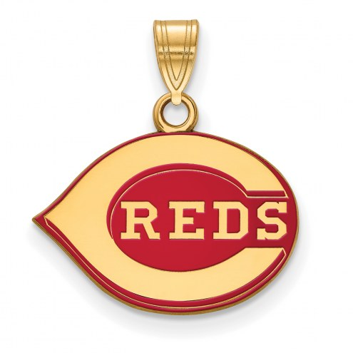 Cincinnati Reds Sterling Silver Gold Plated Small Enameled Pendant