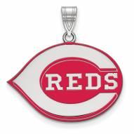 Cincinnati Reds Sterling Silver Large Enameled Pendant