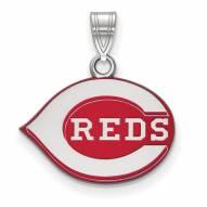Cincinnati Reds Sterling Silver Small Enamel Pendant