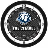 Citadel Bulldogs Carbon Fiber Wall Clock