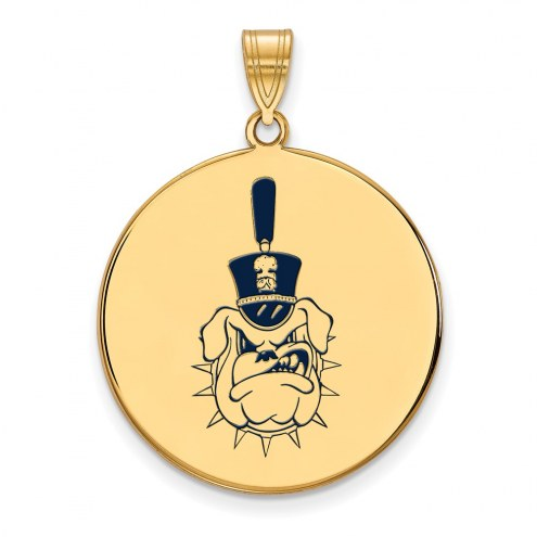 Citadel Bulldogs Sterling Silver Gold Plated Extra Large Enameled Disc Pendant