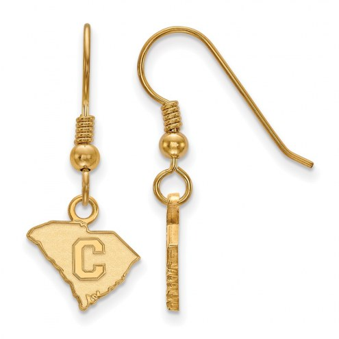 Citadel Bulldogs Sterling Silver Gold Plated Extra Small Dangle Earrings