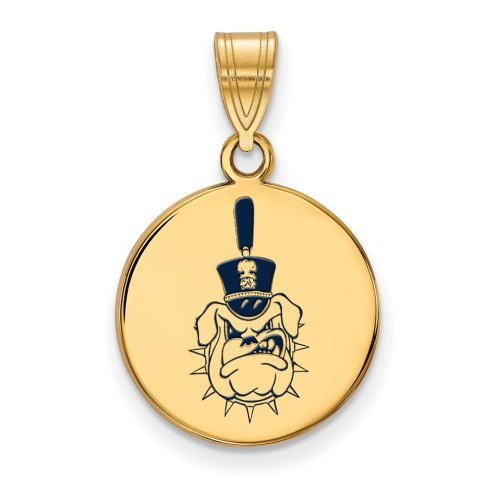 Citadel Bulldogs Sterling Silver Gold Plated Medium Enameled Disc Pendant
