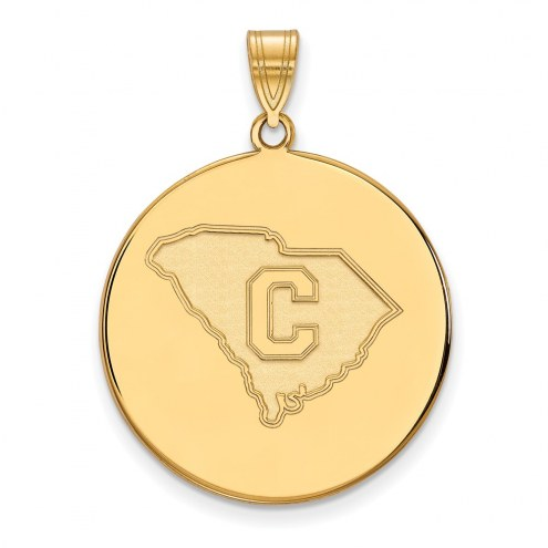 Citadel Bulldogs NCAA Sterling Silver Gold Plated Extra Large Disc Pendant