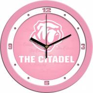 Citadel Bulldogs Pink Wall Clock
