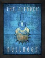Citadel Bulldogs Retro Logo Map Framed Print
