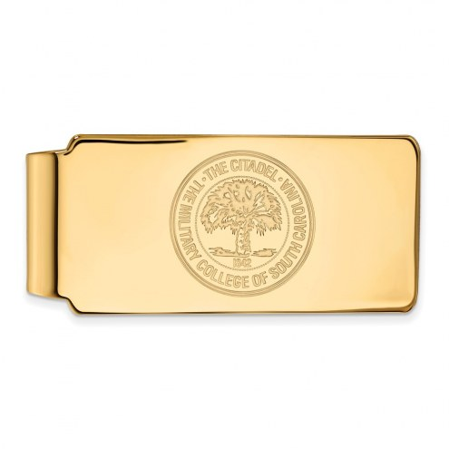 Citadel Bulldogs Sterling Silver Gold Plated Crest Money Clip